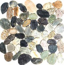 Mosaik Fliese Flußkiesel geschnitten schwarz beige 30-0104_f 10 Matten