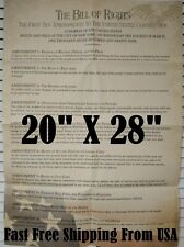 20x28 The Bill of Rights POSTER Amendments 1-10 US Constitution classroom
