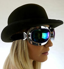 New Chrome Steampunk Alternative Cyber Fantasy Goggles Blue Lens Glasses