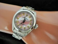 ROLEX  OYSTER PERPETUAL Watch Steel Pink MOP Diamond Dial Beautiful Rolex Watch