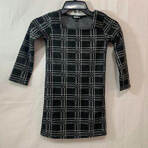 Fashion Nova Girls Mini Never Plaid Out Dress in Black/White Size 5