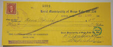 Vintage Bank Cheque - 1939 - The Canadian Bank of Commerce - with 3 cent stamp