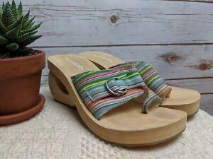 Skechers Somethin Else Women's Sandals Wedge Multi-Color Slip-On Slides Striped