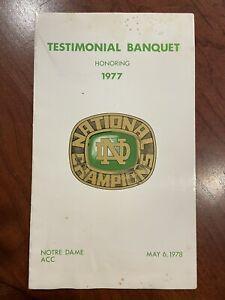 1977 Notre Dame Football Testimonial Banquet Program Joe Montana National Champs