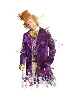 Willy Wonka Gene Wilder A3 Digital Watercolour Splash Effect Poster Print