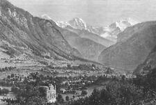 SWITZERLAND. Jungfrau, from Unspunnen Castle c1885 old antique print picture