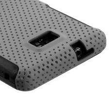 Straight Talk Samsung Galaxy II 2 S959G MESH Hybrid Rubber Skin Case Cover Grey