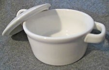 ONEIDA CHEF'S TABLE WHITE PORCELAIN INDIVIDUAL BAKER-MINI ROUND CASSEROLE w/LID