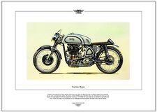 NORTON MANX - Motor Cycle Fine Art Print - 30M 500cc Track racing motorbike 50's
