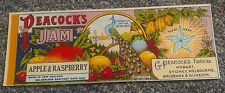 PEACOCK'S Vintage Apple Raspberry Jelly Can Label ORIGINAL 1900 TIN CAN LABEL