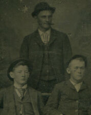 THREE MAN IN SUITS AND LOUD TIES. TINTYPE.