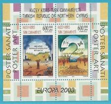 Türkisch-Zypern aus 2003 ** postfr. Block 21 MiNr.578-579 - Europa: Plakatkunst!