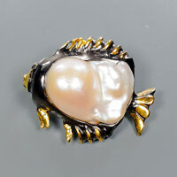 Baroque Pearl Brooch Silver 925 Sterling Fish Jewelry Design /NB08521