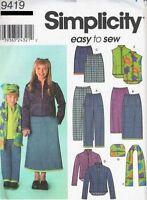 Pattern Simplicity Sewing Boy Girl Pants Skirt Jacket Vest Sz 3-6 OOP