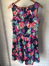 Multi-Colour Floral A Line Cut Out Neck Cocktail Party Dress Crossroads 10 AA18