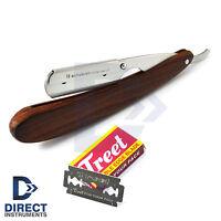 Straight Edge Rounded Vintage Barber Hair Shaving Razor Folding Knife +10  Blades bf3832622af