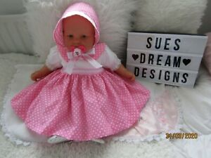 CLOTHES FOR BABY 6-12 mths REBORN 24-IN  PINK SPOT COTTON DRESS SET NEW