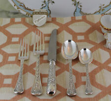 Hand-Forged Sterling Silver 5-pc Place-Setting, Elizabethan