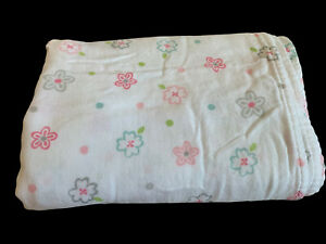 Summer Swaddle Me Infant Baby Blanket White Polka Dot Soft Muslin Rayon Cotton