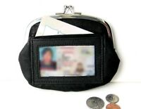 Black Genuine Leather Lady's Coin Purse cards slots ID License Holder Large