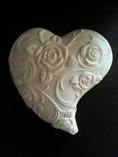 Flower Heart Plaster Wall Hanging Decorative Plaque Cream Home Garden Interior