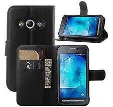 Samsung Galaxy Xcover 3 G388F Leather Flip Credit Card Wallet Stand Case - Black