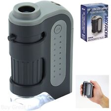 Carson MicroBrite Plus 60x-120x Power LED Lighted Pocket Microscope Powerful New