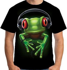 Velocitee Mens T-Shirt Frog Rock Music DJ Funky Street Rave Soul Festival A18618
