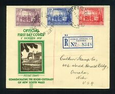 Australia 1937 Nsw Sesqui-Centenary Official Fdc Public Offices Vic cds