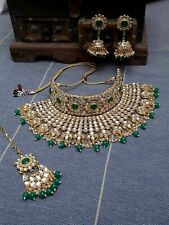 Indian Bridal Kundan Necklace Green Gold Choker Jewelry Set Wedding Polki Set