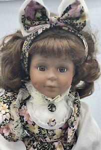 Vintage Porcelain Doll, Black, 41cm Tall, 16', Beautifully Dressed