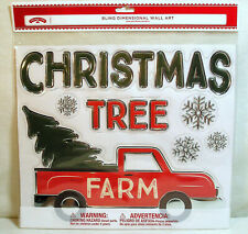 Christmas Bling Dimensional Wall Art Christmas Tree Farm Red Truck Sticker Decal