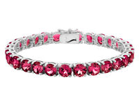 Created Ruby Bracelet 12 Carat (ctw) in Sterling Silver