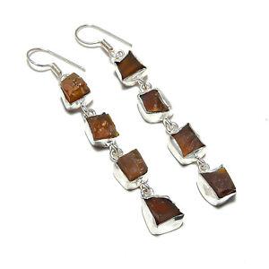 """Carnelian Gemstone Handmade 925 Sterling Silver Jewelry Earring 2.75"""""""