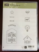 """""""YOU BRIGHTEN MY DAY"""" Stampin'UP! NEW~RUBBER/CLING ~Sale-A-Bration, tag, stars"""