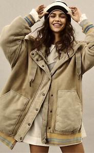 Free People Coat All Star Stadium Jacket Hooded Oversize WTF Distress Moss M NWT