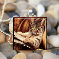 SMART KITTY Library Cat Glass Tile Pendant Necklace Silver Jewelry wholesale