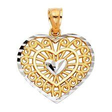 14K YELLOW SOLID GOLD FILIGREE HEART CHARM PENDANT - 1 GRAM Top Diamond Jewelry