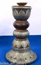 Vintage Used Heavy Wood Beautiful Brass Work Candle Stick Home Decor. i71-28