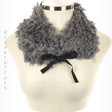 SIMPLY VERA WANG Winter CURLY Faux FUR GRAY SCARF Black RIBBON TIE Collar Wrap