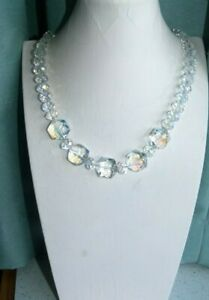 JEWELLERY BEAUTIFUL VINTAGE MULTI FACETED GLASS CRYSTAL BEAD NECKLACE AURORA 381