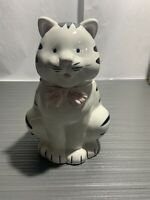 Cute King Fong Pottery Ceramic Black and White Cat Cookie Jar