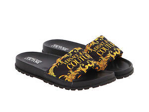 Versace Jeans Couture Black/Gold Contemporary Baroque Pool Slide Sandals