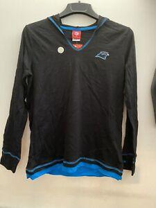 Carolina Panthers NFL  Women's V-Neck Hooded Black Shirt Size XL