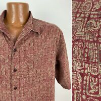 LL Bean Hawaiian Shirt Men Large Red Geometric Tiki Batik Short Sleeve Button Up