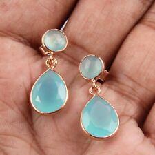 Teardrop Aqua Chalcedony Earrings 925 Silver Gemstone Earrings Gift For Her
