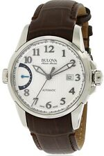 Bulova Accu Swiss Men's 63B171 Automatic Silver Dial Brown Leather Strap Watch