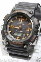 AQ-S810W-8A Black Orange Casio Men's Watch Tough Solar Analog Digital Resin New