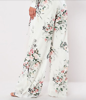 Floral Wide Leg Palazzo Pants Chiffon White Flowy Woven Summer Spring NWT 8