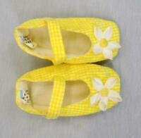 VTG 80s Yellow Gingham Baby Mary Jane Cotton Fabric Booties Shoes 6-9 months